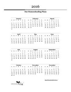 2016 School-Year Planning Calendar
