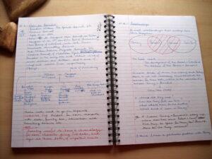 notebooking in a spiral notebook